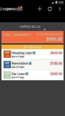 Expense IQ Bills Reminder